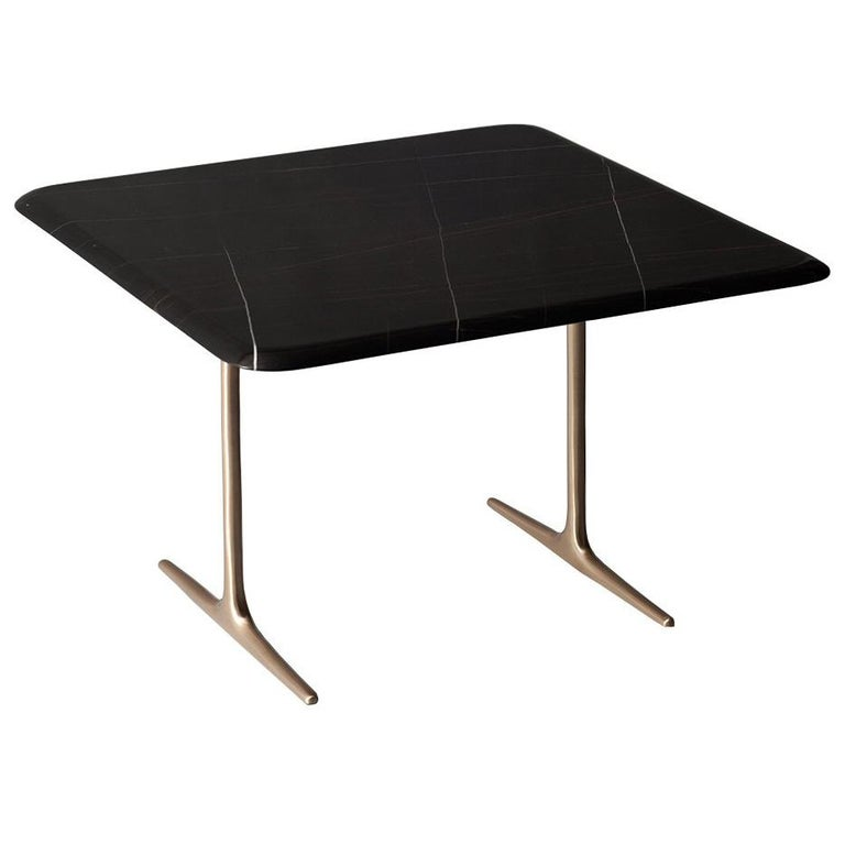 Lark Side or Cocktail Table by DeMuro Das with Black Marble Top and Bronze Legs