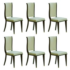 Six Dining Chairs Art Deco Empire Revival French Upholstered Ebonized