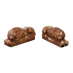 Pair of Petite French Patinated Iron Reclining Lions, Turn of the Century