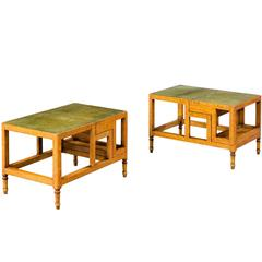 Pair of Satin Beech Library Steps