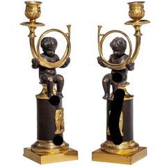 Pair of Regency Period Putti Candlesticks