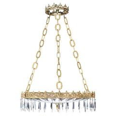 Regency Style Cut Glass Plafonnier with Suspended Cut Drops