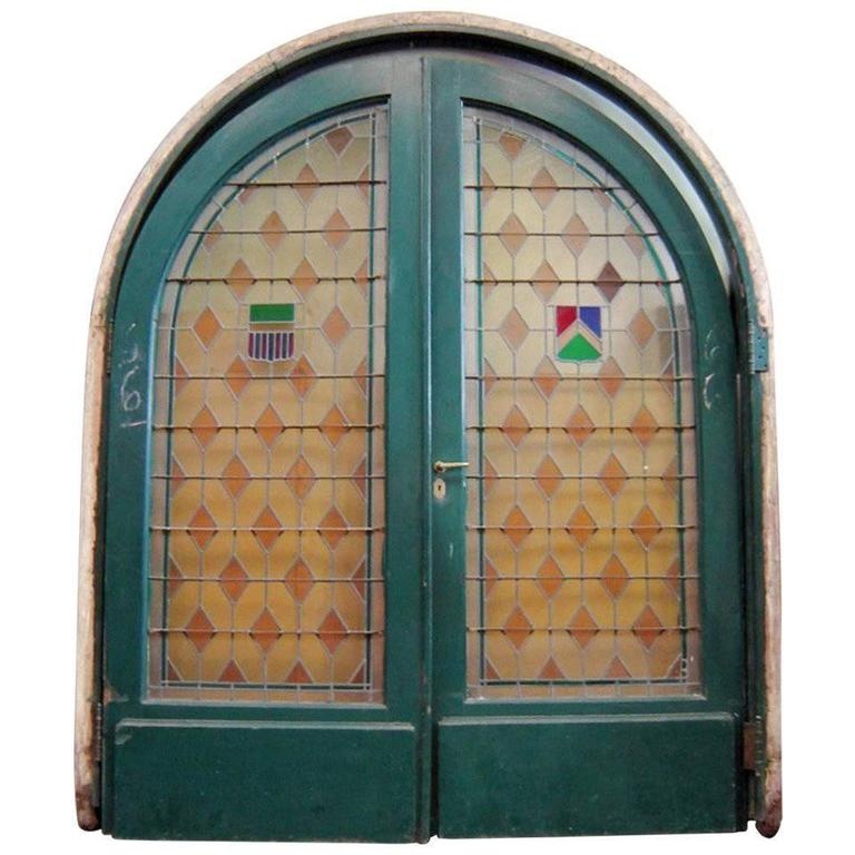Large Pair of Arched Leaded and Stained Glass Doors 1