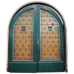 Large Pair of Arched Leaded and Stained Glass Doors