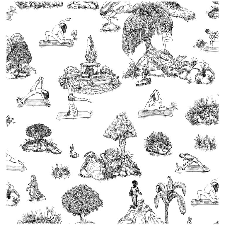 YOGA GARDEN TOILE on Latex ink on eco-friendly Smooth wallpaper