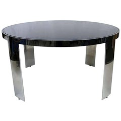 Large-Scale Polished Nickel Dining Table by Pace