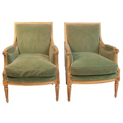 Pair of Large-Scale Painted Louis XVI Style Bergeres, France, circa 1900
