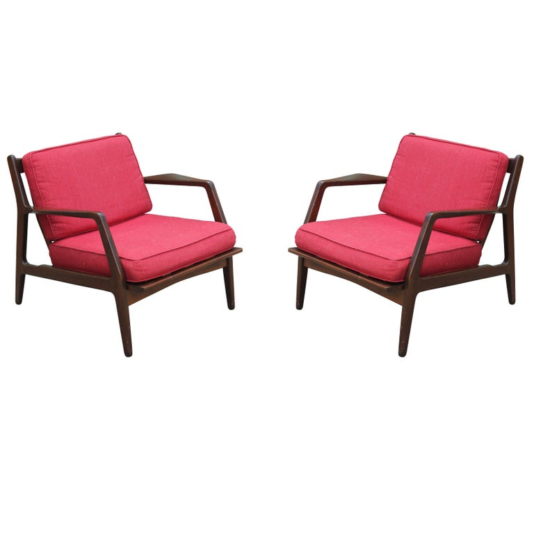 Pair of Danish Modern Red Lounge Chairs by Ib Kofod-Larsen for Selig