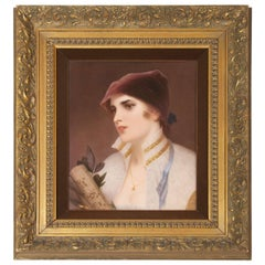 KPM Porcelain Plaque of a Young Woman, German, circa 1890