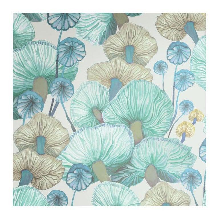 Moisseron Wallpaper or Custom Mural on Non-Woven Paper in Color Celeste, Aqua