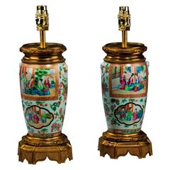 Pair of late 19th century Cantonese Ovoid Lamps