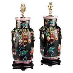 Pair of Canton Porcelain Lamps