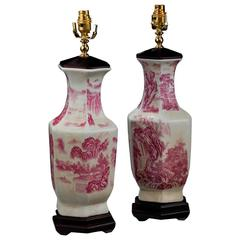 Pair of Crackle Ware Hexagonal Vase Lamps