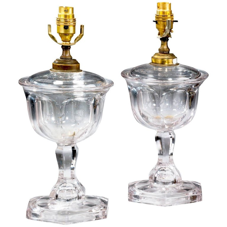 Pair of 1920s Glass Lamps For Sale