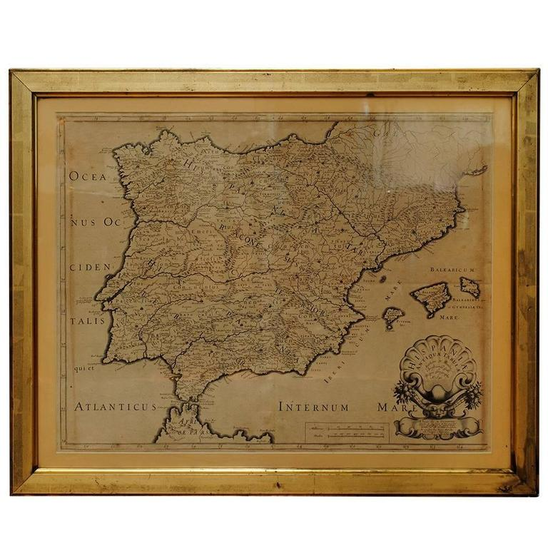 17th Century Lithograph Framed Map of Spain