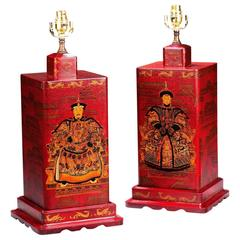 Pair of 20th century Large Square, Crackle Ware Tea Jar Lamps