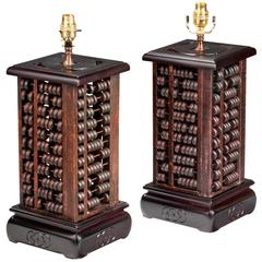 Pair of Soap Stone Abacus Lamps