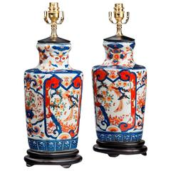 Pair of Imari Porcelain Lamps