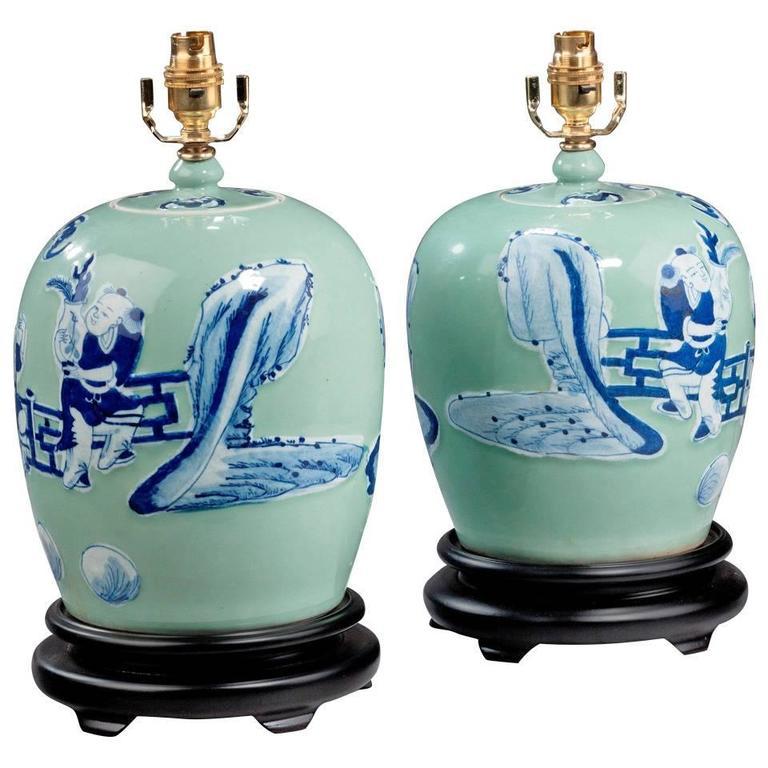 Pair of 20th century Oriental Ovoid Vase Lamps