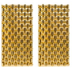 Pair of Faceted Brass Metalwork Wall Sculptures