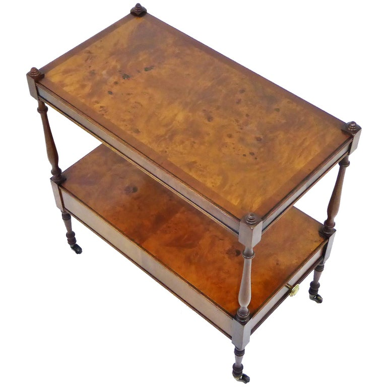 English Regency Style Walnut and Mahogany Side Table on Casters
