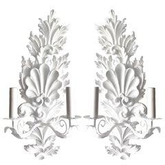 Pair of White Shell Motif Plaster Scones