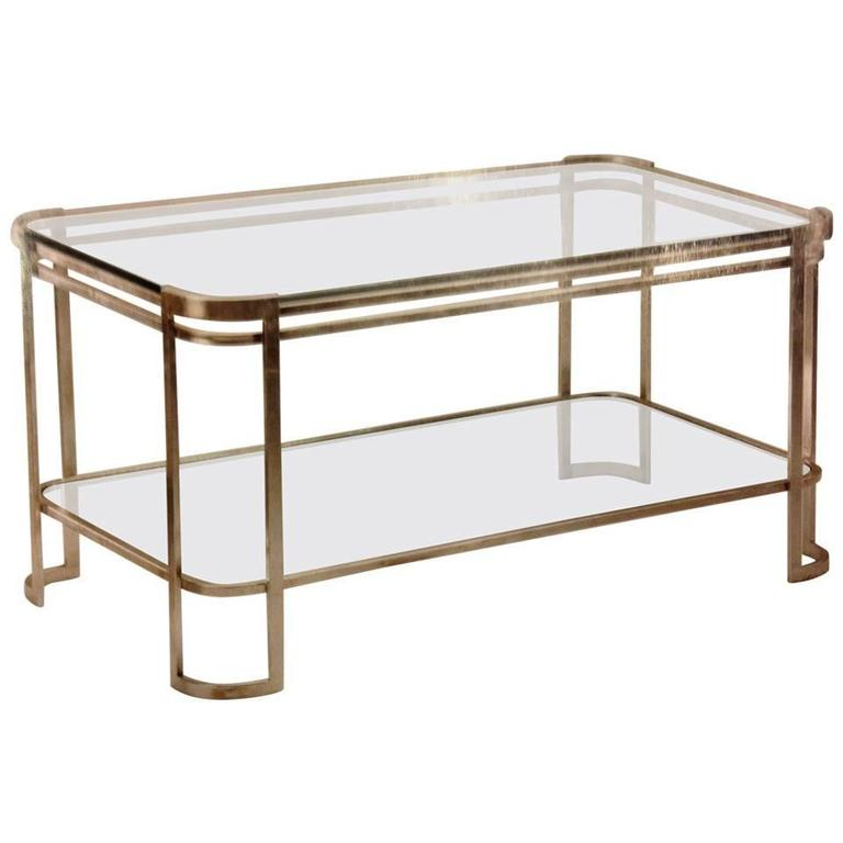 Elegant Italian Silver Leaf Double Level Cocktail Table For Sale