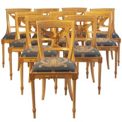 Set of Ten Painted and Gilt Swedish Dining Chairs, circa 1900