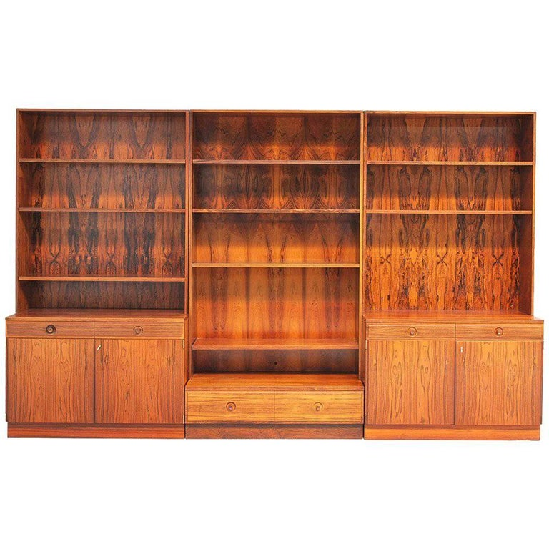 Three-Part Rosewood Bookcase by Bertil Fridhagen
