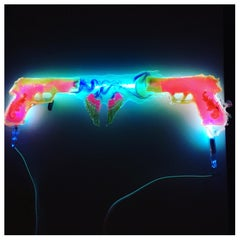 'Gun Art' Solid Resin with Neon Illuminating, Modern, Handmade, One of a Kind