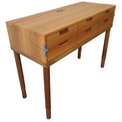 Unique Cabinetmakers Console Secretary Desk in Swiss Pearwood