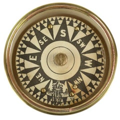 Compass in Its Original Turned Brass Box of the Mid-19th Century