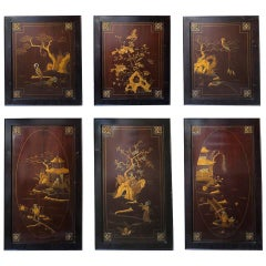 Set of Six Exquisitely Detailed Chinoiserie Panels, Formerly Furniture