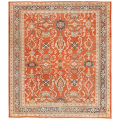 Square Rusty Red Background Antique Persian Sultanabad Rug