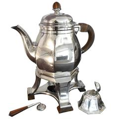 Gustave Keller Art Deco Silvered Teapot and Warmer