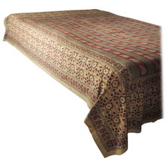 Vintage Hand-Blocked Red and Brown Qalamkar Cotton Paisley Coverlet
