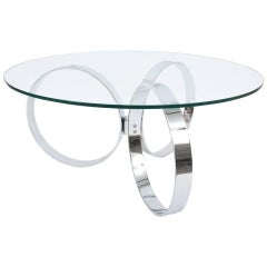 Two Italian Chrome Ring Coffee Tables, circa 1970