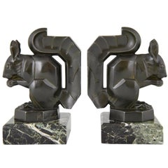Art Deco Squirrel Bookends by Max Le Verrier France, 1930