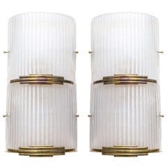 Vintage Brass and Murano Glass Sconces