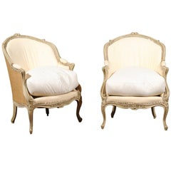 Pair of 18th Century French Louis XV Painted Bergère Chairs with Wraparound Back