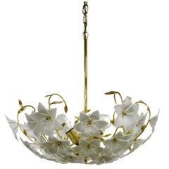 Brass Murano Glass Flower Chandelier, 1970s