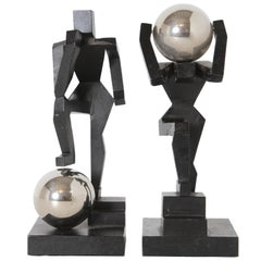 Modernist Machine Age Art Deco Sculptures or Bookends Pair Mantiques