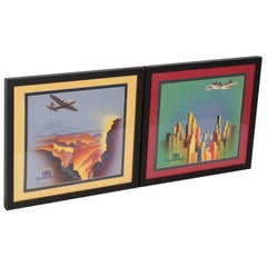 Art Deco Machine Age Cubist United Airlines Posters / Placards, 1930s DC 3 Pair