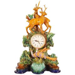 Early 20th Century French Majolica Black Forest Mantel Clock from Paris