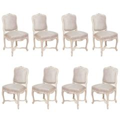Set of Eight Early 20th Century French Louis XV Painted Chairs with Suede Fabric
