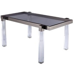 "Charles Hollis Jones ""Box Line"" Dining Table in Lucite and Nickel, Signed"