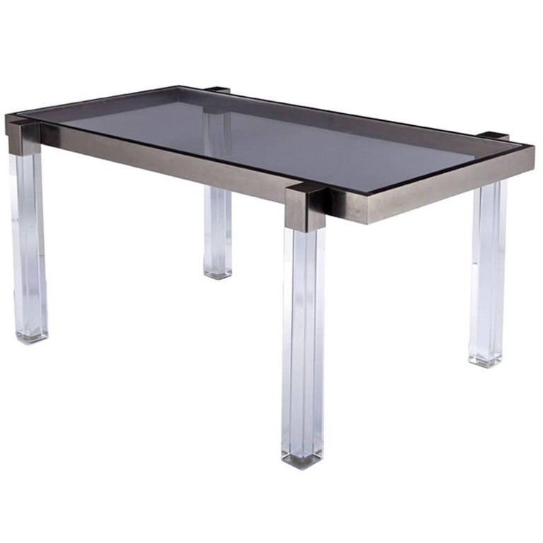 "Lucite Dining Room Table: Charles Hollis Jones ""Box Line"" Dining Table In Lucite And"