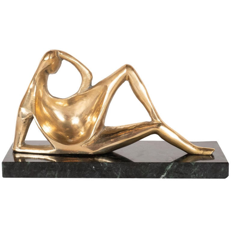 Mid-Century Modern Bronze Sculpture on Exotic Marble Base, in Henry Moore Manner