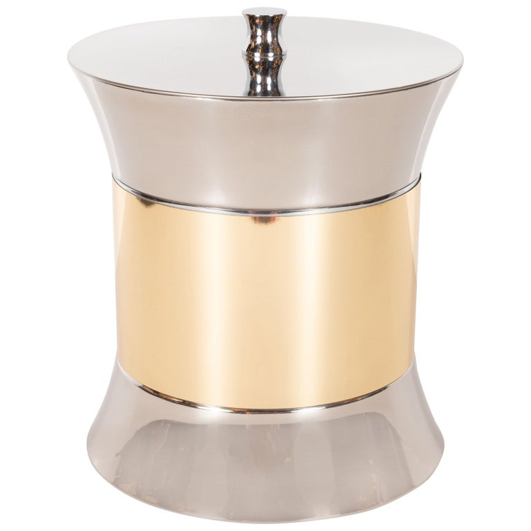 Mid-Century Modern Chrome and Brass Ice Bucket by Kraftware Co.