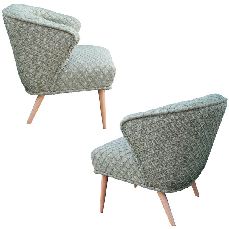 Pair of Hollywood Regency Low Lounge or Slipper Chairs Manner of Billy Haines